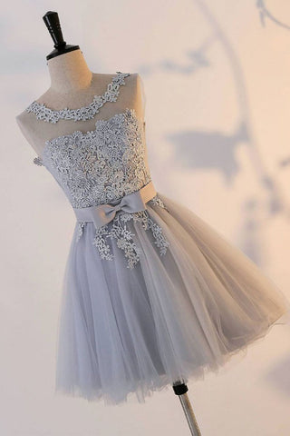 Cute A Line Appliqued Homecoming Dress with Bowknot, Cheap Tulle Short Prom Dress