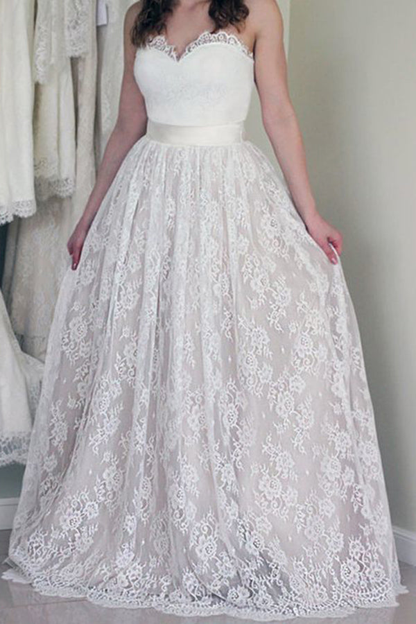 A Line Sweetheart Lace Wedding Dress, Cheap Strapless Lace Bridal Dresses