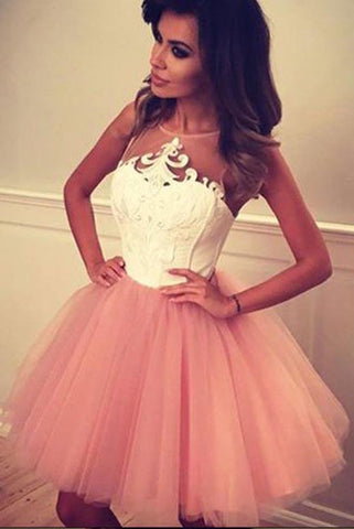 Cheap A Line Sheer Neckline Tulle Short Prom Dress with Appliques, Cute Homecoming Dress
