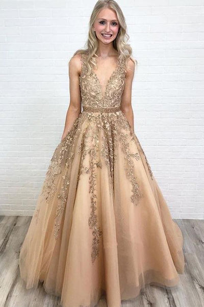A Line V Neck Tulle Lace Applique Prom Dress with Beading Waist, Puffy Party Dress N1609