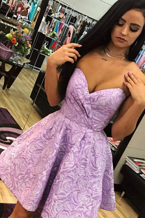 A-Line Sweetheart Short Lilac Printed Homecoming Dress with Ruched, Sexy Prom Dress
