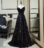 Sparkly Long A-line Lace Up Back Evening Prom Dresses Party Dress B0001