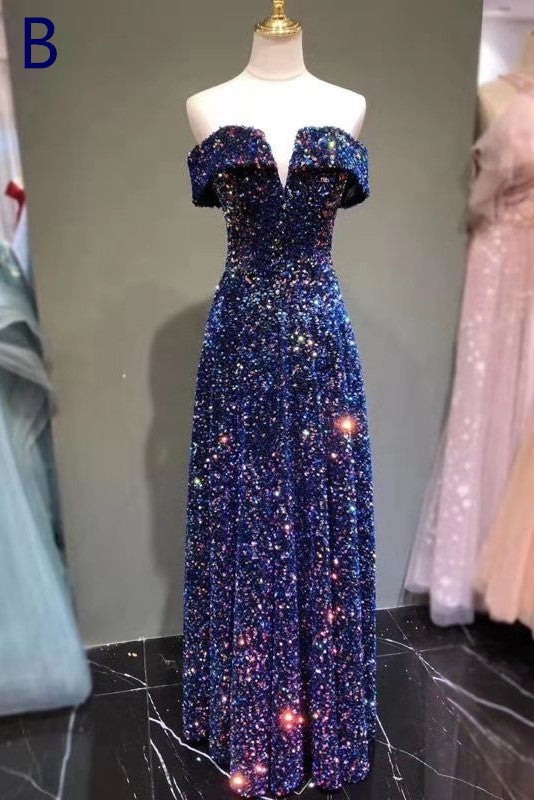 New Arrival Sequin Shiny Long Prom Dresses For Women Modest Eveing Gown B0005