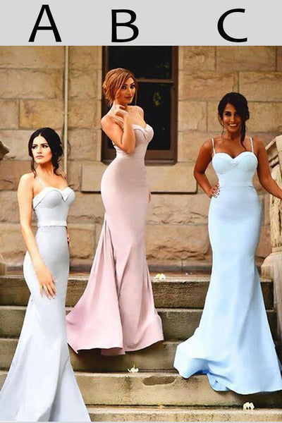Sexy Spaghetti Straps Trumpet Sweetheart Sweep Train Ruffles Hot Bridesmaid Dresses,N423