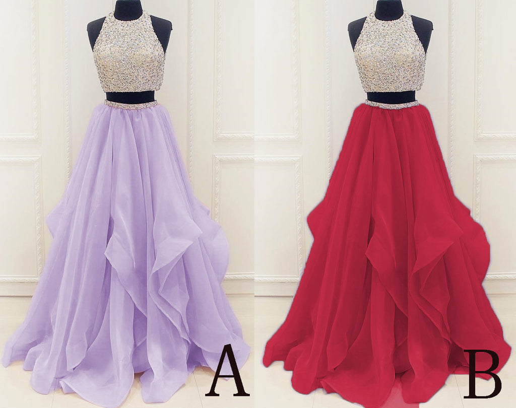 Lilac New Arrival Modest Organza Prom Dresses,Stunning Sequin Two Piece Prom Dress,N67