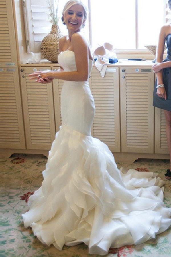 Mermaid sweetheart ruffles sweep train organza satin for Mermaid wedding dresses with feather bottom