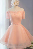 Pastel Orange Appliqued Tulle Off-shoulder Homecoming Dresses,Short Party Dress,N295