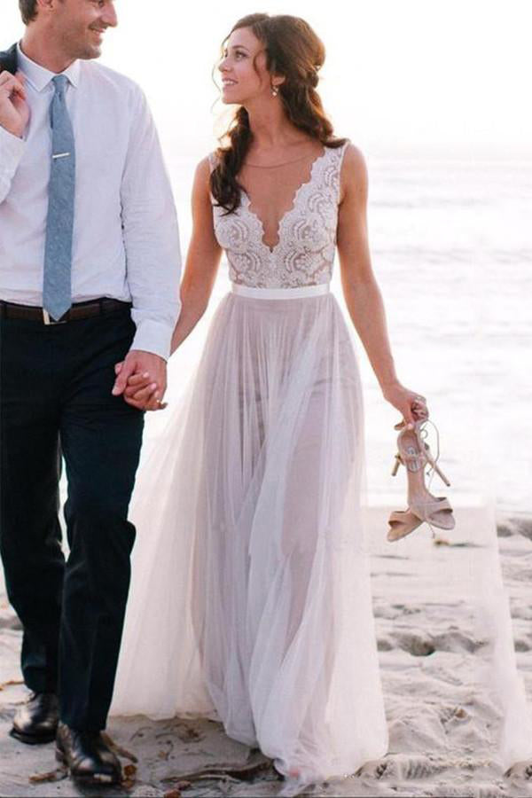 Elegant A Line Scoop Neck Sleeveless Lace Tulle Beach Wedding Dress,Bridal Gown,N463
