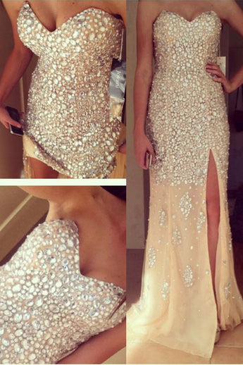 Sheath Sparkly Strapless Sweetheart Sleeveless Long Prom Dress with Rhinestones,N414