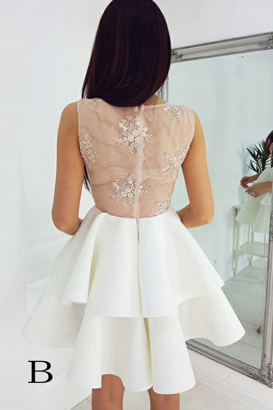 See Through Two Layers Sleeveless V Neck Homecoming Dress, Short Lace Appliqued Prom Dress N796