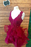 Dark Burgundy V Neck Outstanding Lace Appliqued Homecoming Dress N879