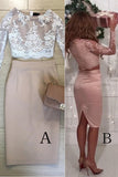 Two Piece Long Sleeves Lace Knee Length Homecoming Dress, Sheath Prom Dress N873