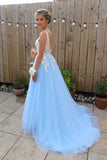 Light Sky Blue V Neck Long Tulle Prom Dress with Ivory Lace Appliques, Evening Gown N1208