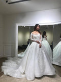 Luxurious Ball Gown Long Sleeves Court Train White Lace Applique Wedding Dress,N429