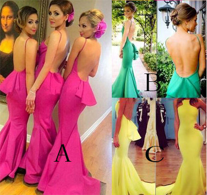 Sexy Backless Fuchsia Mermaid Bridesmaid Dresses, Unique Straps Bridesmaid Dress N1114