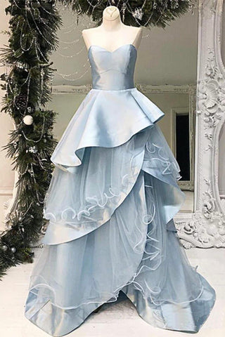 Baby Blue Layered Long A Line Evening Dress, Sweetheart Senior Prom Dress N1467