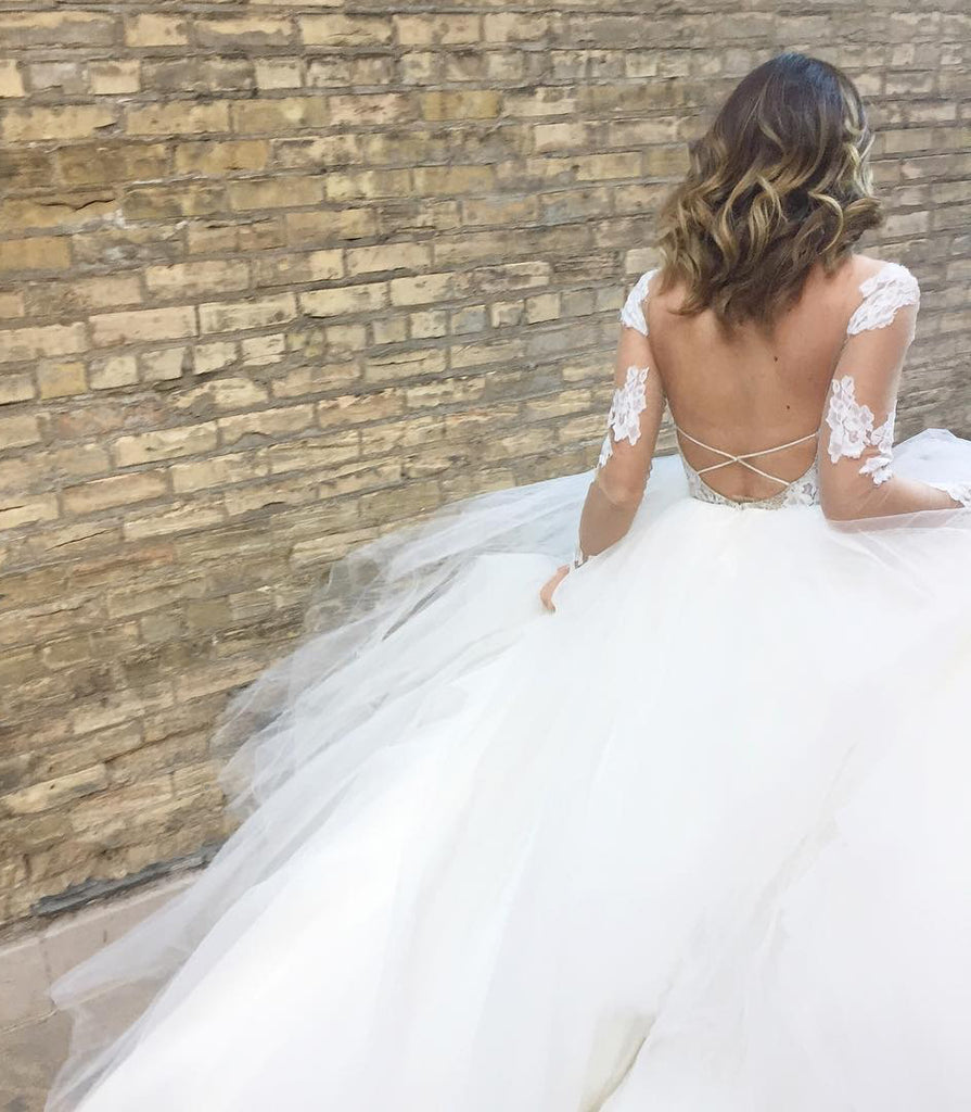 Ivory Sheer Long Sleeves Lace Tulle Backless Beach Wedding Dress,Bridal Gowns 2018,N577