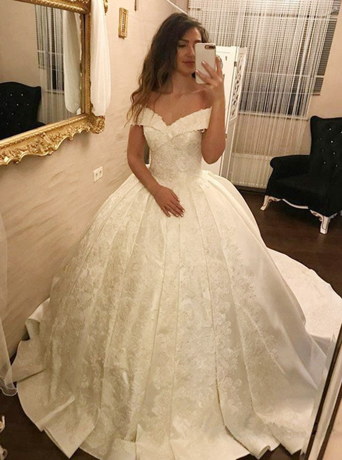 Ivory Ball Gown Off-the-Shoulder Pleated Satin Lace Appliques Wedding Dress,N647