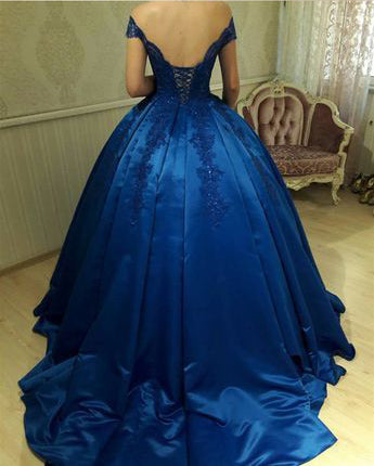 Royal Blue Off The Shoulder Applique Ball Gowns