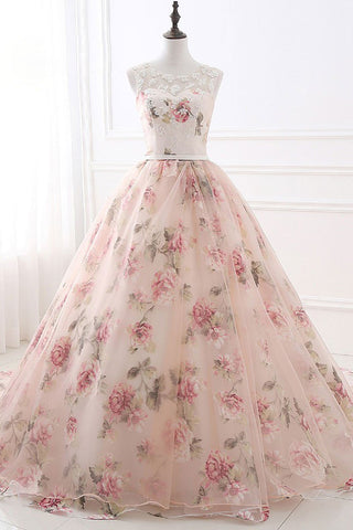 Ball Gown Print Prom Dresses, Lace Up Back Appliques Long Quinceanera Dresses N1512