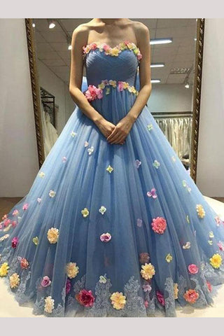 Blue Sweetheart Ball Gown Tulle Prom Dress with Flowers, Floor Length Quinceanera Dress N1371