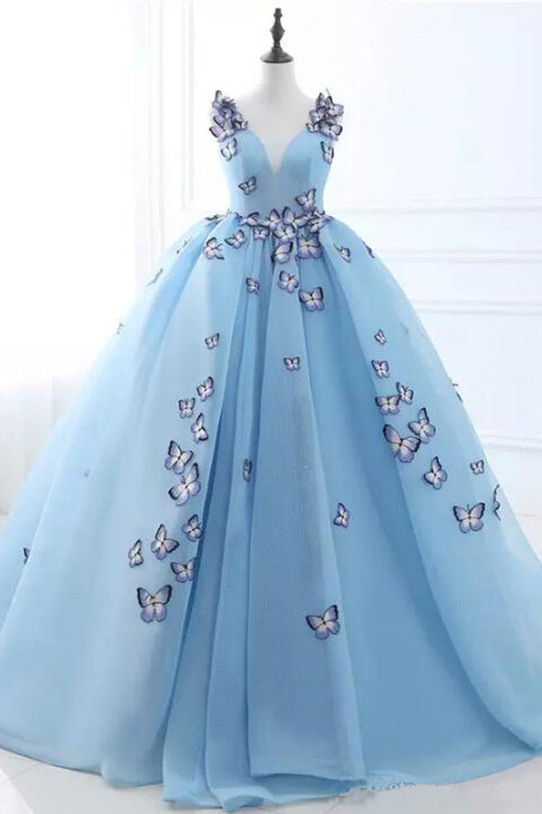 Sky Blue V-neck Butterfly Flowers Ball Gowns Long Prom Dress,Puffy Event Gowns