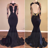 Black Mermaid Long Sleeves Gold Lace Appliques See Through Prom Evening Gowns,N703