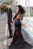 Black Mermaid Prom Dresses Long Sleeves Lace Sheer Fabric Sexy Evening Gowns,N621