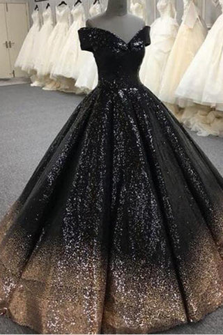 8b47111732d Bling Sequins Black Ball Gown Prom Dresses Off Shoulder Formal Gown  Masquerade N1307 – Simibridaldress