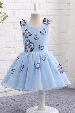 Light Blue Baby Girls Clothes Butterfly Appliques Puffy Flower Girl Dresses F057