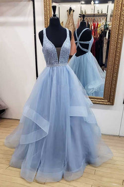 Blue Long Prom Dresses Deep V Neck Tulle Party Dresses, Floor Length Sleeveless Dress N1561