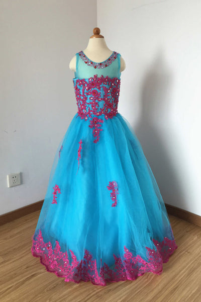 A Line Floor Length Blue Sleeveless Tulle Flower Girl Dress with Lace Applique