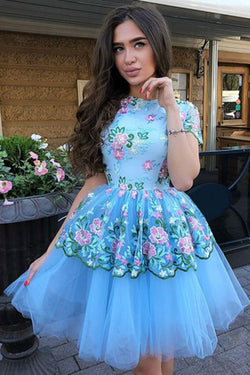 A-Line Jewel Short Sleeves Blue Tulle Above Knee Homecoming Dress with Lace Flowers