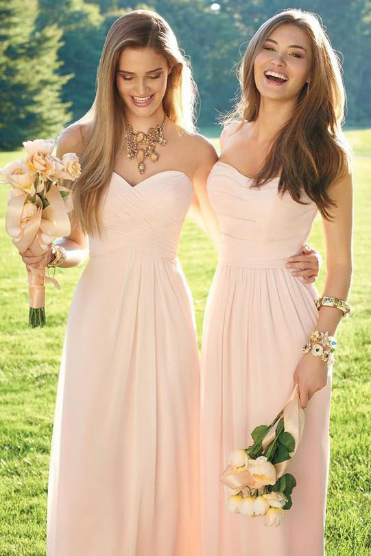 A-line Blush Pink Sweetheart Chiffon Floor-length Bridesmaid Dress with Pleats,N694