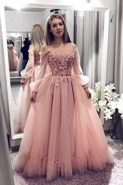 Blush Pink Prom Dresses With Long Sleeves, A Line Elegant Evening Dress with Applique N1814