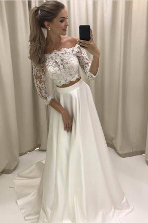 Two Piece 3/4 Sleeve Off the Shoulder Lace Satin Beach Wedding Dress,Prom Dress,N638