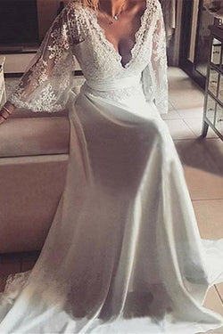 Romantic Boho V Neck Lace Appliques Chiffon Long Beach Wedding Dress with Sash,N629