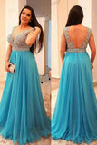 A-Line V-neck Sleeveless Beading Brush Train Chiffon Plus Size Prom Dresses