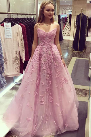 Bubblegum Strapless V-Neck Applique Long Prom Dress,Sleeveless Tulle Evening Dress,N631