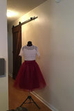 Burgundy Short Homecoming Dress with Top Lace, Cute Short Prom Dress with Lace N1664