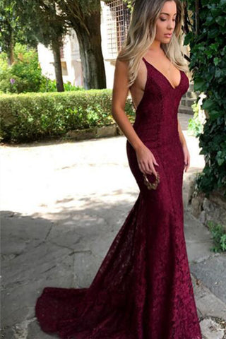 Burgundy Trumpet Spaghetti Straps V-neck Lace Sweep Train Mermaid Prom Dress,N489