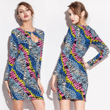 Print Cotton Material Hot girl Chest Hollow Night Club