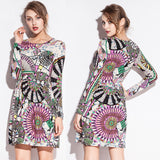Fashion Print models Waist Wrinked One Piece Cotton dress