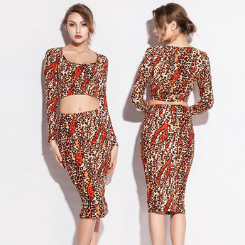 Slim Fit Leopard Print Stretch Cotton Women Tight dress