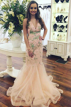 Sexy V-neck Sleeveless Mermaid Tulle Long Prom Dress with Appliques,N726