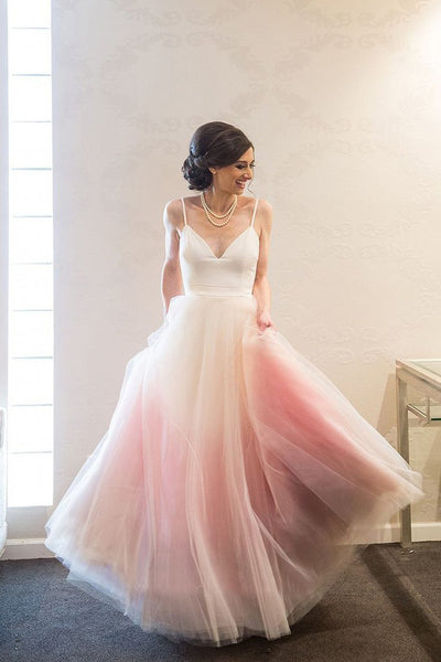 Pink Ombre Puffy Spaghetti Strap Long Prom Dresses, Chic Evening Dress with Belt N1605