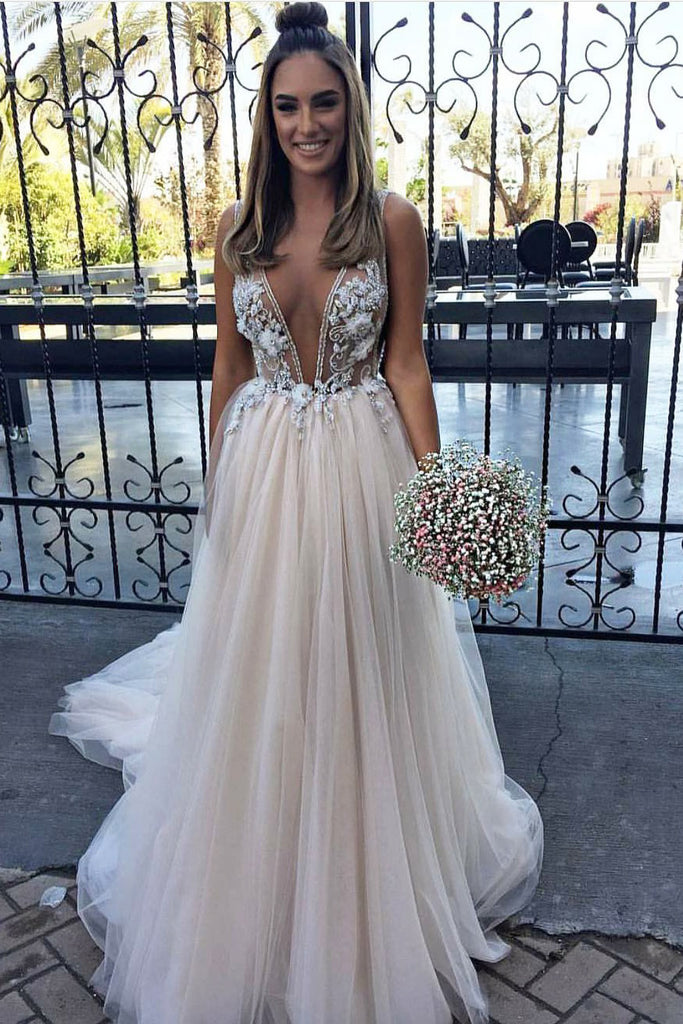 Sexy Deep V Neck Tulle Prom Dresses, Applique Sleeveless Long Graduation Dress N1502