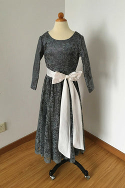 Long Sleeves Charcoal Gray Lace Floor Length Flower Girl Dress with Ivory Sash