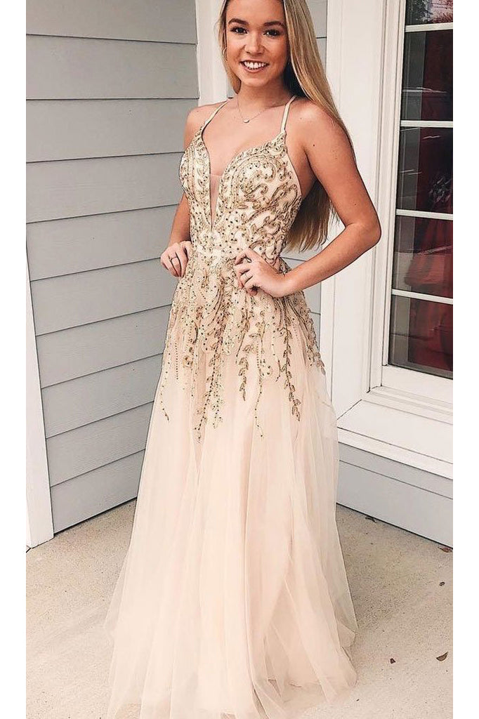 Charming Appliques Spaghetti Straps Tulle Long Prom Dress, V neck Evening Dress N1697