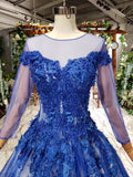 Gorgeous Long Sleeve Sheer Neck Tulle Blue Applique Ball Gown Prom Dresses with Beads N1996